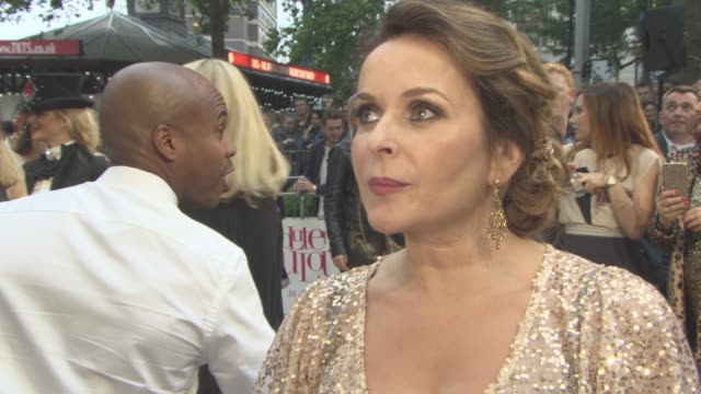 interview julia sawalha on the appeal of 'abfab' her character working with jennifer saunders at 'absolutely fabulous the movie' uk film premiere at... - jennifer saunders stock videos & royalty-free footage