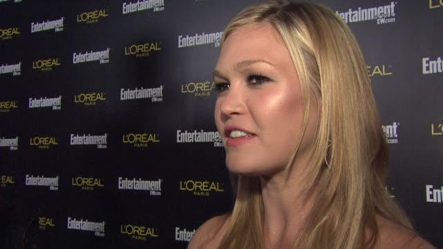 julia stiles on what brings her out tonight having dexter nominated for a sag how she was able to get her sag card the best part of the whole award... - julia stiles stock videos and b-roll footage