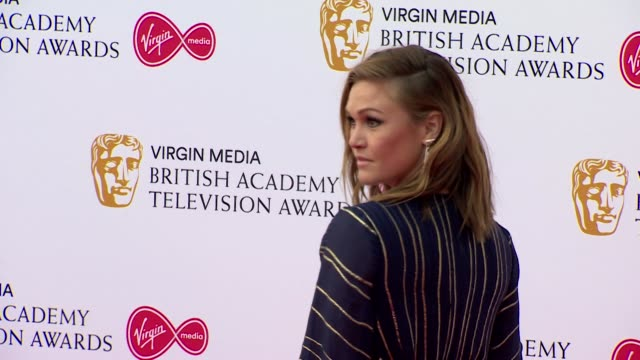 julia stiles pose for photos on red carpet at bafta tv awards 2019 at royal festival hall london - royal festival hall stock videos and b-roll footage