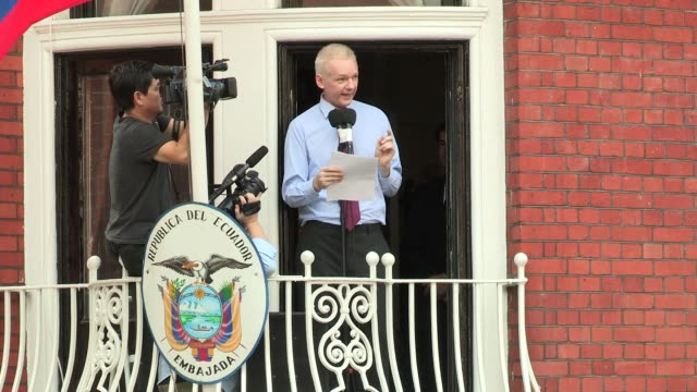 speech julian assange speech julian assange at embassy of ecuador on august 19 2012 in london england - embassy stock videos and b-roll footage