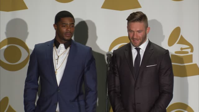 SPEECH Julian Edelman Malcolm Butler on how they went straight from the parade to the Grammys at The 57th Annual Grammy Awards Press Room at Staples...