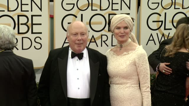 julian fellowes and emma kitchener-fellowes at the 71st annual golden globe awards - arrivals at the beverly hilton hotel on in beverly hills,... - julian fellowes stock videos & royalty-free footage