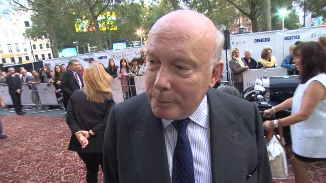 julian fellowes on the scottish referendum and the world after ww1 at 'downton abbey' exclusive charity preview - julian fellowes stock videos & royalty-free footage