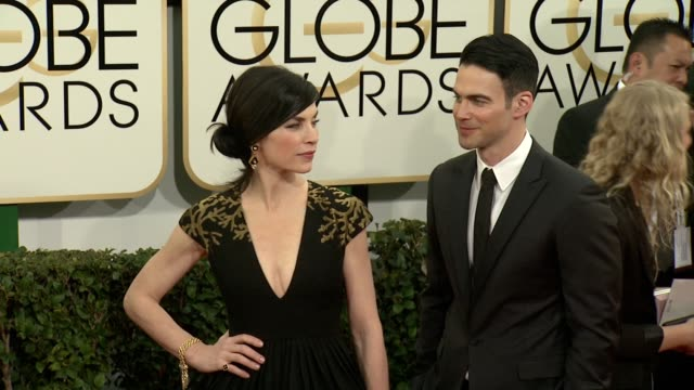 julianna margulies at the 71st annual golden globe awards arrivals at the beverly hilton hotel on in beverly hills california - julianna margulies stock videos and b-roll footage