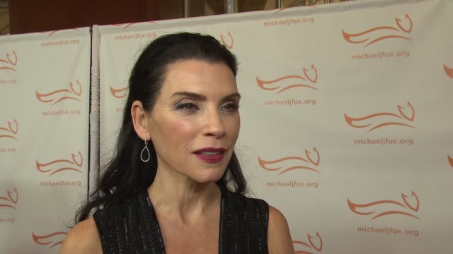 interview julianna margulies on coming out for the evening at 2015 a funny thing happened on the way to cure parkinson's at waldorf astoria hotel on... - waldorf astoria new york stock videos & royalty-free footage