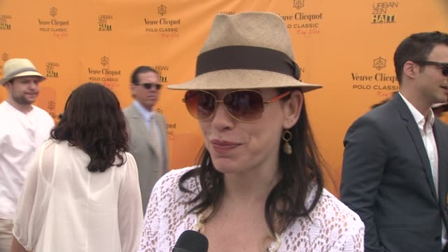 julianna margulies on what she is wearing at the the fourth annual veuve clicquot polo classic at new york ny - julianna margulies stock videos and b-roll footage