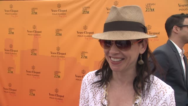 julianna margulies on who she is rooting for at the the fourth annual veuve clicquot polo classic at new york ny - julianna margulies stock videos and b-roll footage