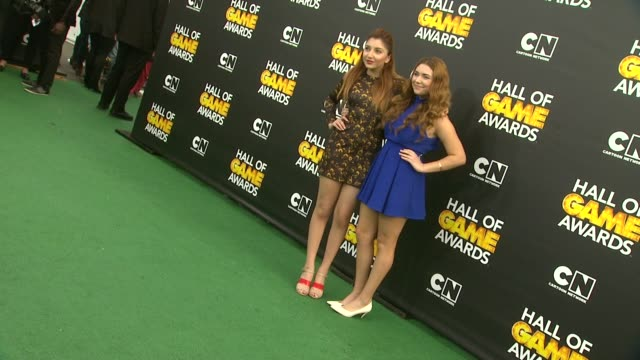 julianna rose and jennessa rose at cartoon network hosts fourth annual hall of game awards at barker hangar on february 15, 2014 in santa monica,... - barker hangar stock videos & royalty-free footage