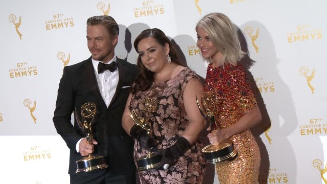 Julianne Hough Derek Hough and Tessandra Chavez at the 2015 Creative Arts Emmy Awards at Microsoft Theater on September 12 2015 in Los Angeles...