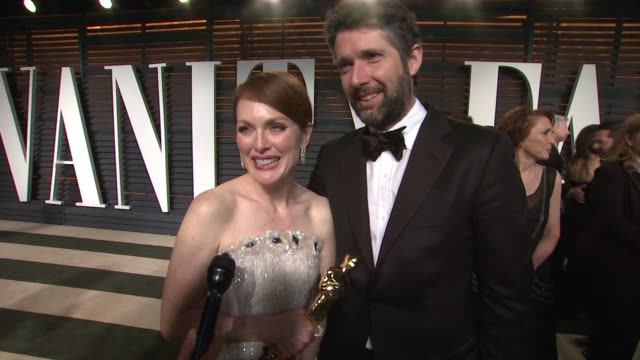 interview julianne moore at the 2015 vanity fair oscar party hosted by graydon carter at wallis annenberg center for the performing arts on february... - wallis annenberg center for the performing arts stock videos and b-roll footage