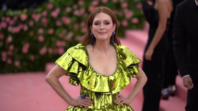 julianne moore at the 2019 met gala celebrating camp notes on fashion arrivals at metropolitan museum of art on may 06 2019 in new york city - met gala 2019 stock videos and b-roll footage