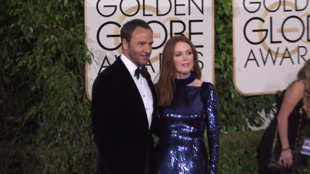 julianne moore at the 73rd annual golden globe awards - arrivals at the beverly hilton hotel on january 10, 2016 in beverly hills, california. 4k... - ジュリアン・ムーア点の映像素材/bロール