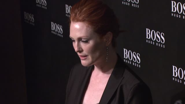 julianne moore at the hugo boss hosts boss black fashion show at cunard building in new york, new york on october 17, 2007. - hugo boss stock videos & royalty-free footage