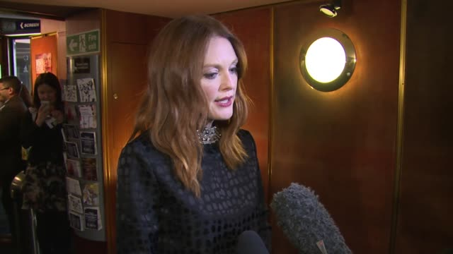 INTERVIEW Julianne Moore on Alzheimer's portraying the disease and award nominations at Still Alice VIP film screening on 5th February 2015 in London...
