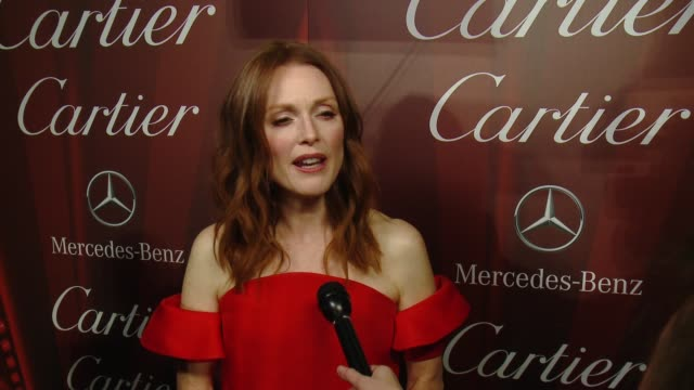 interview – julianne moore on being honored with the desert palm achievement award why her role in still alice resonated with her what she's most... - cartier video stock e b–roll