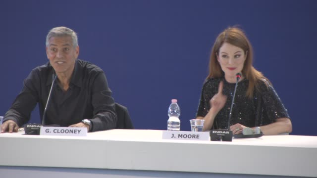 INTERVIEW Julianne Moore playing two different characters at 'Suburbicon' Press Conference 74th Venice International Film Festival at Palazzo del...