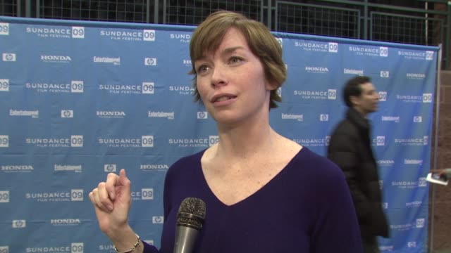 vídeos de stock, filmes e b-roll de julianne nicholson on her role in the film on why she wanted to be in this film on working with the director on having the film premiere at sundance... - festival de cinema de sundance