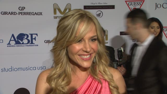 Julie Benz on being a part of the night what she appreciates about Andrea Bocelli and the work that the Andrea Bocelli Foundation is doing what she's...