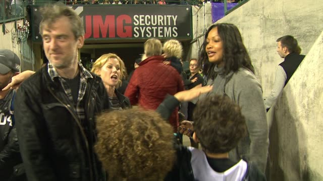 Julie Bowen and Garcelle Beauvais at Monster Jam Celebrity Night at Angel Stadium of Anaheim on January 16 2016 in Anaheim California