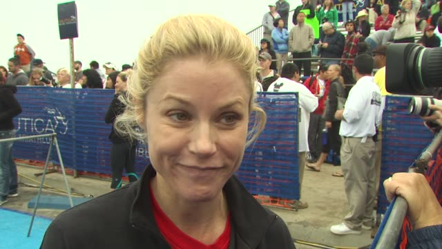 julie bowen on being part of today's triathlon on how she trained for the race - julie bowen stock videos and b-roll footage