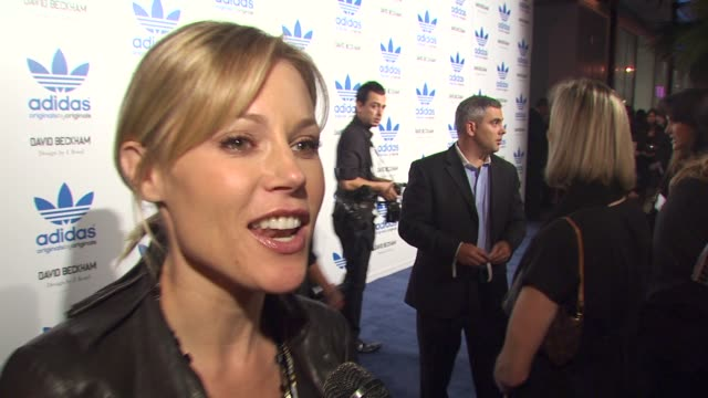 julie bowen on the collaboration at the david beckham and james bond launch adidas originals by originals line at los angeles ca - julie bowen stock videos and b-roll footage