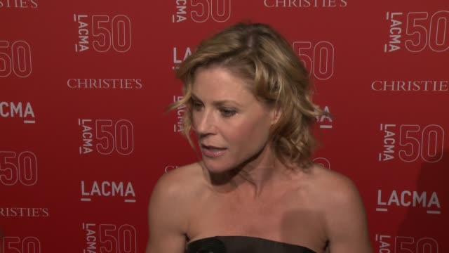 interview julie bowen on the importance of lacma and on being at the event at lacma's 50th anniversary gala at lacma on april 18 2015 in los angeles... - julie bowen stock videos and b-roll footage
