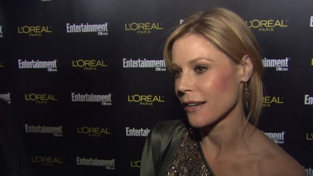julie bowen on what brings her out tonight if she is hoping for a win tomorrow what the best part of award season is for her and who she is routing... - julie bowen stock videos and b-roll footage