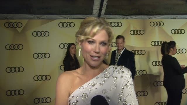 interview julie bowen on what she is wearing to the golden globes at audi kicks off golden globes week 2013 on 1/6/13 in los angeles ca - julie bowen stock videos and b-roll footage