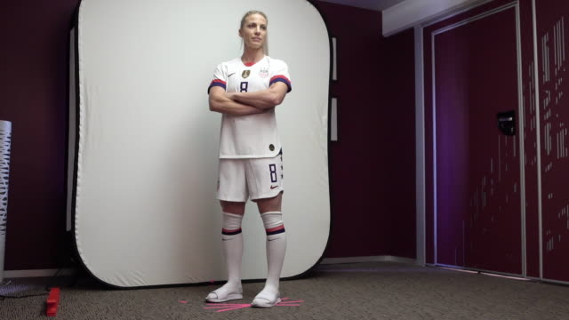 julie ertz at fifa womens world cup france 2019 team arrival meeting and portrait session on june 08 2019 in reims - fifa stock videos & royalty-free footage