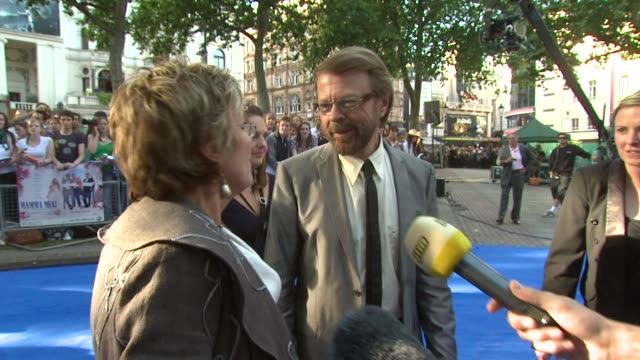 julie walters and bjorn ulvaeus at the mamma mia premiere at london - mamma mia stock videos and b-roll footage