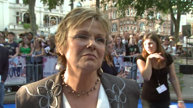 julie walters on singing in the film at the mamma mia premiere at london - mamma mia stock videos and b-roll footage