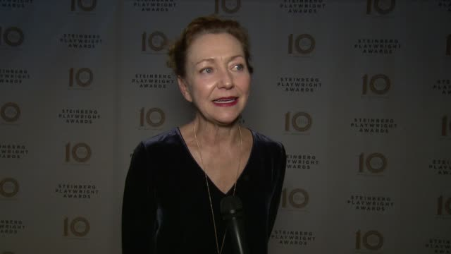 INTERVIEW Julie White on supporting the playwrights at 2017 Steinberg Playwright Awards at Mitzi E Newhouse Theater on December 4 2017 in New York...