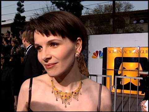 juliette binoche at the screen actor's guild awards at the shrine auditorium in los angeles, california on february 22, 1997. - juliette binoche stock videos & royalty-free footage