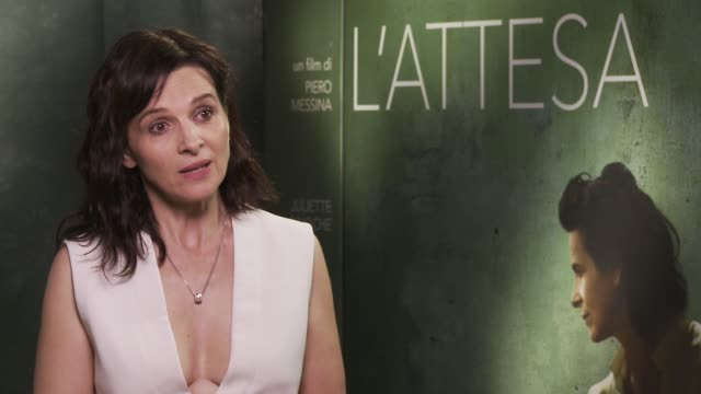 """juliette binoche on her character at 'the wait' """"l'attesa"""" interview - 72nd venice film festival at gq house on september 04, 2015 in venice, italy. - juliette binoche stock videos & royalty-free footage"""