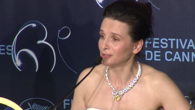 juliette binoche on her choices in acting, on how this experience was cosmic and orgasmic at the palme d'or press conference: cannes film festival... - juliette binoche stock videos & royalty-free footage
