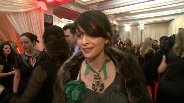 juliette binoche on john boorman and why she's come from the antartica to be here tonight at the irish film television awards at dublin - television awards stock videos & royalty-free footage