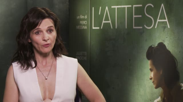 """juliette binoche on migrants and on making political choices as an actress at 'the wait' """"l'attesa"""" interview - 72nd venice film festival at gq house... - juliette binoche stock videos & royalty-free footage"""