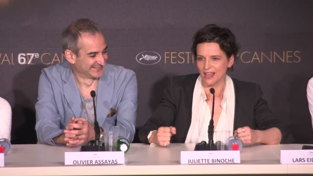 juliette binoche on playing an actress and working with kristen stewart at 'clouds of sils maria ' press conference at palais des festivals on may 23... - kristen stewart stock videos and b-roll footage