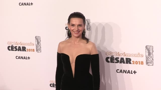 juliette binoche on the red carpet for the cesar film awards 2018 at salle pleyel in paris paris, france, on friday, march 2nd, 2018 - juliette binoche stock videos & royalty-free footage