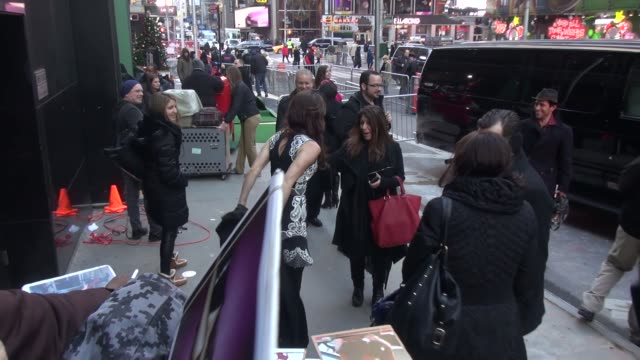 juliette lewis exits good morning america and poses for photographers, signs autographs for fans in new york city - celebrity sightings in new york... - juliette lewis stock videos & royalty-free footage