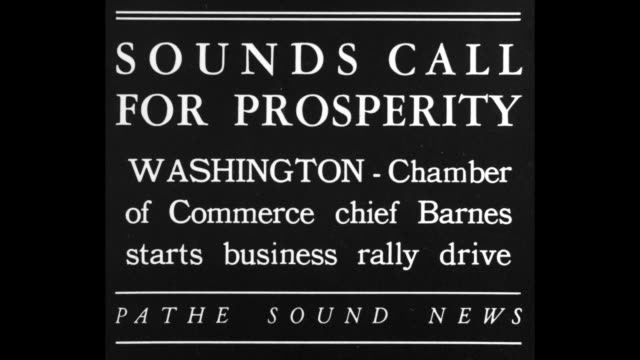 Julius H Barnes chairman of the Board of Directors of the US Chamber of Commerce speaking at large microphone / Note exact day not known