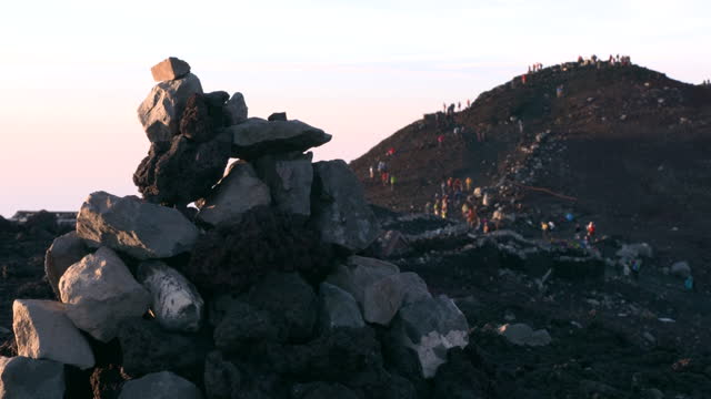july 10 cairn and climbers near the summit of mt fuji - mt fuji stock videos & royalty-free footage