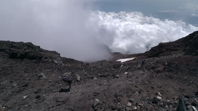 july 11 climbers near the summit of mt fuji - fog stock videos & royalty-free footage