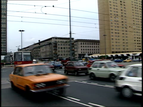 july 12 1989 ws cars and buses flowing through dmowski roundabout / warsaw poland - 1980 1989 video stock e b–roll