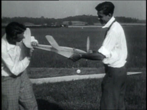 July 13, 1931 MONTAGE Young men competing with their model planes in annual tournament / Dayton, Ohio, United States
