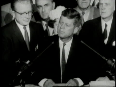july 15, 1960 montage jfk addressing crowd at democratic convention, walking through crowd of supporters / united states - speech video stock e b–roll
