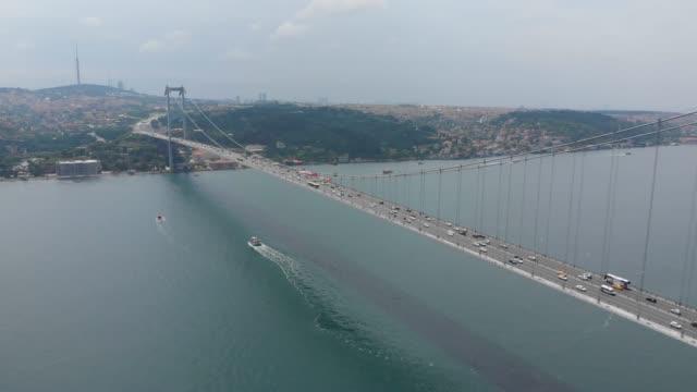 stockvideo's en b-roll-footage met brug in de bosporus en istanbul cityscape - 15 juli martelaarsbrug