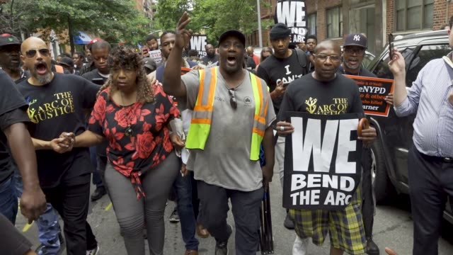 july 18, 2019: protesting the death of eric garner who was chokehold to his death by nypd officer daniel pantaleo. garner's reported last words... - clergy stock videos & royalty-free footage