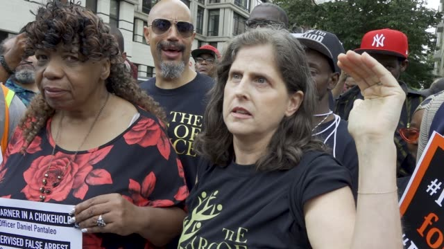 july 18, 2019: the speaker is helen rosenthal new york city council member. protesting the death of eric garner who was chokehold to his death by... - g force stock videos & royalty-free footage