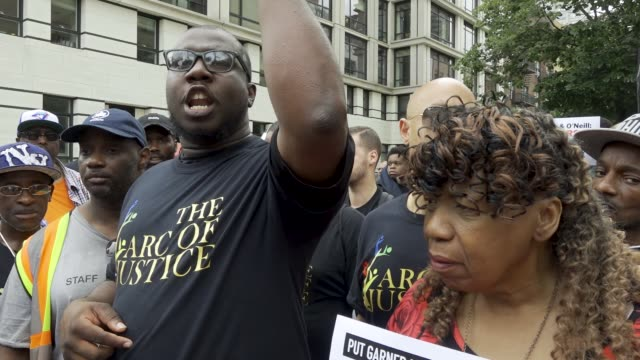 july 18, 2019: the speaker is rev. kevin mccall. protesting the death of eric garner who was chokehold to his death by nypd officer daniel pantaleo.... - g force stock videos & royalty-free footage